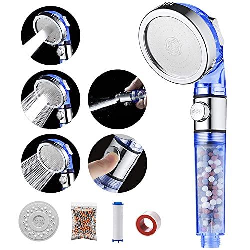 MIAOHUI Blau Öko Filter Duschkopf mit lonenfilter und Kalkfilter, 3 Modi Druckerhöhung Handbrause Wassersparend, Duschkopf mit Filter Ausgestattet mit PP-Baumwolle, Packung Filterkugeln, Panel