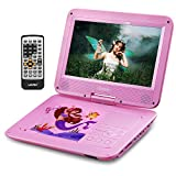 UEME Portable DVD Player with 10.1 Inches HD LCD Screen, Car Headrest Mount Holder, Remote Control, Car Charger Wall Charger, Kids DVD Players with Rechargeable Battery (Pink)