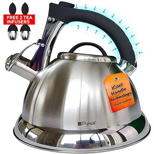 Whistling Tea Kettle with iCool - Handle, Surgical Stainless...