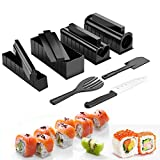 Sushi Making Kit - Sushi Maker 13 Pcs Plastic Deluxe Edition Complete Set for Beginners with Sushi Rice Roll Mold Shapes, Sushi Knife, Easy and Fun-DIY Home Sushi Roller Tool (Black-13 Pcs)