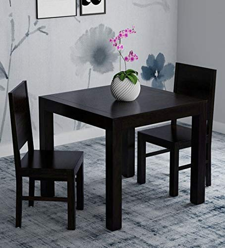Monika Wood Furniture Sheesham Wood Dining Table 2 Seater | Dinning Table with 2 Chairs | Dining Room Furniture | Black Finish