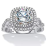 Sterling Silver Round Cubic Zirconia Double Halo Crossover Engagement Ring Size 10