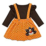Thanksgiving Toddler Baby Girl Outfits Ruffle Tops Strap Turkey Dot Skirt Dress 2pcs Clothes Set 2-3T Brown