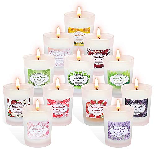 Supersun Duftkerzen Set im Glas,12 Stück Aroma Kerzen Geschenkset,Natürliches Sojawachs Kerze,Je 10-12 Std Duftkerze Teelichter für Aromatherapie,Massage,Yoga für Weihnachten,Geburtstag,Hochzeiten