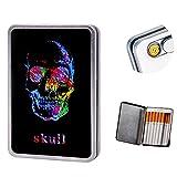 Étui à cigarettes avec briquet intégré sans flamme et coupe-vent rechargeable par USB - Peut contenir 16 cigarettes, Skull USB Feuerzeug