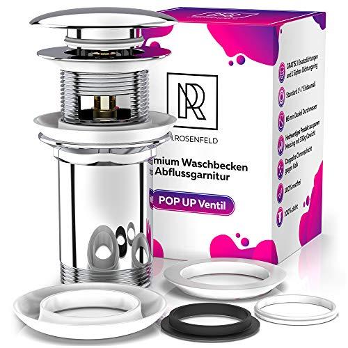 Premium Ablaufgarnitur Waschbecken Abflussgarnitur – mit Überlauf für Waschbecken & Waschtisch, Universal Chrom Pop Up Ventil, Solide Stoepsel aus Messing - mit Anleitung & 4 Ersatzdichtungen