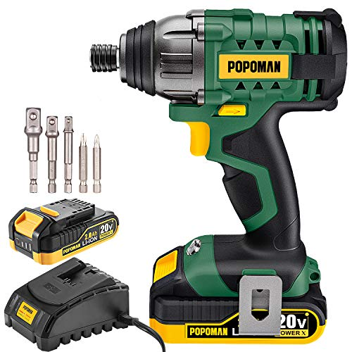 Impact Driver, 20V POPOMAN 1600In-lbs Cordless Impact Drill, 1/4' All-metal Hex Chuck, 0-2900RPM Variable Speed, 2000mAh Battery, 2.0A Fast Charger, 6Pcs Accessories, Tool Bag Included