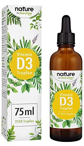 GloryFeel | Vitamine D3 | 75 ml | 1000 I.E. per druppel | Premium: Hoge stabiliteitsvloeistof in MCT-olie van kokosnoot