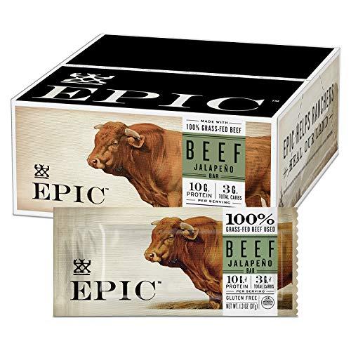EPIC Beef Jalapeno Protein Bar, Keto Friendly, 12CT 1.3oz Bars