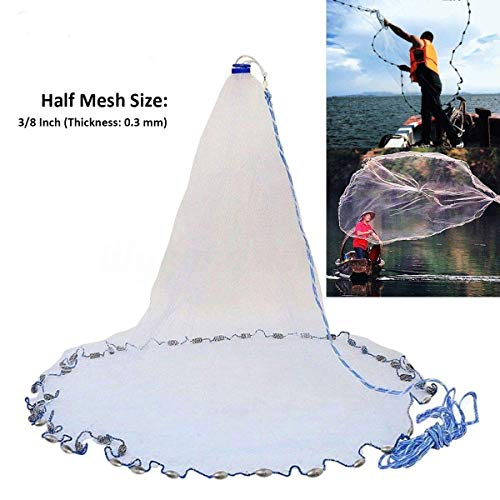 Yeahmart American Saltwater Fishing Cast Net for Bait Trap Fish 4ft Radius with Heavy Duty Real Zinc...