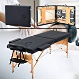 Portable Massage Table Massage Bed Professional Folding Spa Bed Tattoo Bed 2 Fold Height Adjustable Massage Table With Black Carry Case