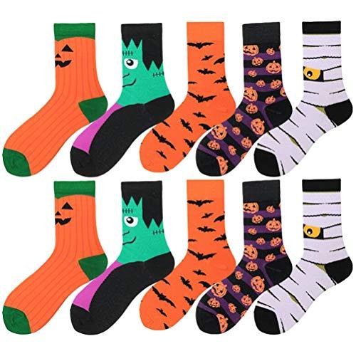 VALICLUD 5 pezzi calzini di Halloween zucca pipistrello stampe calze novit decorazione festa in costume