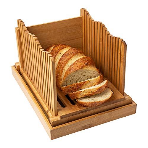 Affettatrice di bamb per pane fatto in casa - Tagliere di legno per pane con supporto per crumble - Tagliapasta pieghevole e compatto - Fette sottili o spesse