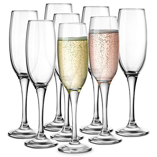 KooK Premium Clear Glass Champagne Flutes, Thin Stem, 7 ounce, 8 pack