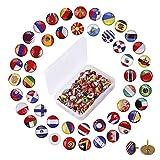 Punaises Creative 100 Pièces Drapeau National Push Pins pour Tableau d'Affichage, Carte, Bureau