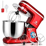 COSVALVE Stand Mixer,7-QT 660W 6-Speed Food Processing, Tilt-Head Food Mixer with Stainless Bowl, Kitchen Electric Mixer with Dough Hook, Wire Whip & Beater (7 Qt. Red)