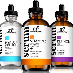 ArtNaturals Anti Aging Set with Vitamin-C Retinol and Hyaluronic-Acid - (3 x 1 Fl Oz / 30ml) Serum for Anti Wrinkle and Dark Circle Remover – All Natural and Moisturizing