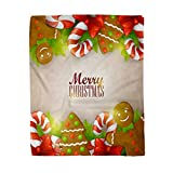 Adowyee 60x80 Inch Soft Decor Throw Blanket Christmas with Sweets Lollipop Candy Lolly Pop Red Lollypop Round Spiral Stick Xmas Warm Cozy Flannel Bed Blankets for Home Sofa Couch Chair Living Bedroom