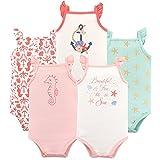 Hudson Baby Unisex Baby Cotton Sleeveless Bodysuits, Beautiful Sea, 6-9 Months