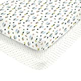 Carter's 100% Cotton Sateen 2 Piece Fitted Crib Sheets Multi Camping and Multi Stars on White, Grey/Blue/Green/Orange