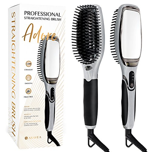 AsaVea Hair Straightener Brush 3.0: MCH Heating Technology and Auto Temperature Lock, Anti-Scald Design - The Best Gift Choice (Rose Gold)