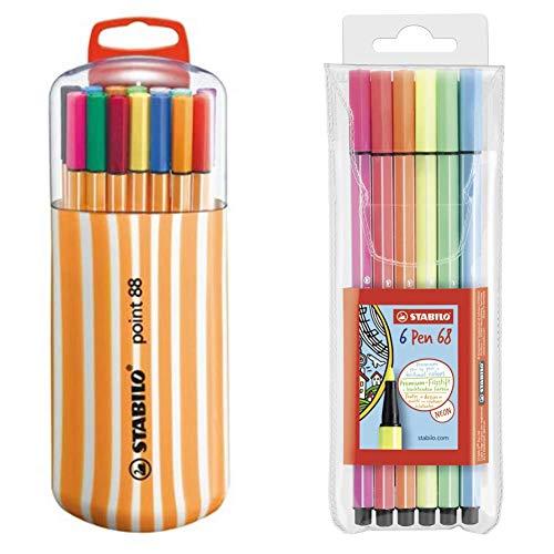 Stabilo Fineliner Point 88 Box Zebrui Astuccio Con 20 ColoriAssortiti & Pennarello Premium Pen 68 Astuccio Da 6 Colori Neon