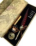 W.D Quill Antique Feather Writting Quill Pen Gold Pen Stem Calligraphy Pen Set | Best Holiday Gift (Black+Red)