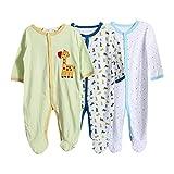 ZEVONDA Bébé Garçon Fille Body - sans Manche/Manche Courte/Manches Longues Bodys Pyjama en Coton pour 0-24 Mois Nouveau-né