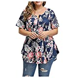 IBAOBAO Femme T-Shirt Imprimé Grande Taille Loose Chemisiers Col Rond Boutons Manches Courtes Casual Tops Hauts Vintage Chic ete