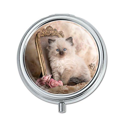 Ragdoll Tiffany Cat Kitten Victorian Roses Pill Case Trinket Gift Box