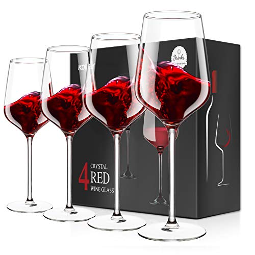 Cristallo Calice Vino Rosso, Kollea 4 Bicchieri da Vino Rosso Grandi Soffiato a Mano Senza Piombo, Eleganti Regali Bicchieri Vino Rosso per Compleanno, Anniversario, Matrimonio, Natale - 500 ML