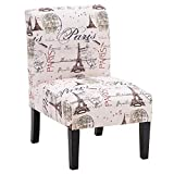 68x50x80cm Fabric Club Chair, Floral Print Contemporary Upholstered Armless Accent Chair Fabric Accent Chairs for Living Room