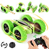 NICEAO RC Cars, Remote Control Car 4WD Strong Power Double Sided 360 Rotating Tumbling Stunt Car Toy, 2.4GHz RC Truck with LED Headlights, Great Gifts Remote Car for Boys Girls Kids – Green