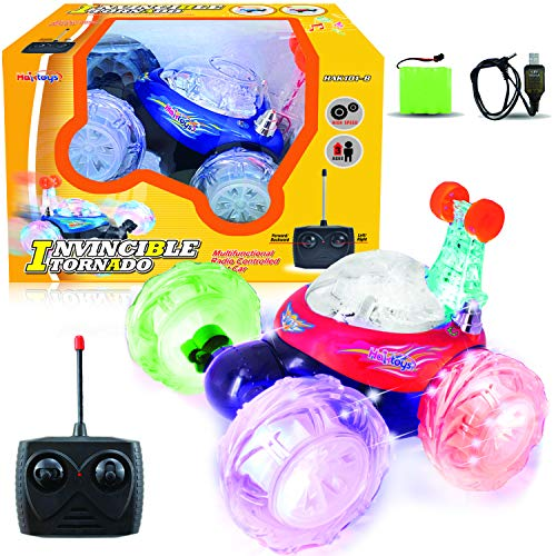 Haktoys Remote Control Stunt Car | (Red or Blue) Radio Control Invincible Tornado Twister Truck | Rechargeable with Flashing LED Lights & Quiet Play Mode | 360° Tumbling & Spinning Action RC Car for Kids, Colors May Vary