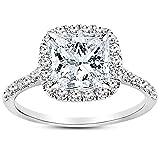 2 Carat 14K White Gold Halo GIA Certified Princess Cut Diamond Engagement Ring (1.5 Ct E Color VS2...