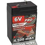 Original Kraftmax 6V / 4,5Ah Industrial Pro Hochleistungs- AGM / VRLA Bleiakku der Neusten Generation mit Faston 4,8mm Anschluß | Abmessungen: ca. 6,8x4,6x10,1cm | Gewicht ca. 0,78kg ► Industriequalität auf höchstem Niveau ► Extrem belastbar & hochst...