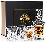KANARS Whisky Karaffe und Gläser Set, 450ml Whiskey Dekanter mit 4X 230ml Gläser, Bleifrei Kristallgläser, 5-teiliges, Luxuriös Geschenk