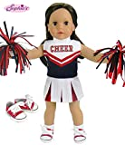 Sophia's 18 Inch Doll Cheerleading Set 4 Pc. Set, Fits 18 Inch American Girl Doll Clothes & More! Pom Poms, 4 Piece Red & Navy Cheer Outfit & Doll Sneaker Shoes Red/Navy