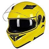 Auboa Full Face Motorcycle Helmet for Women Men Dual Visors, Modular Motorcycle Helmets for Adults Motorcycle DOT (Yellow, M)
