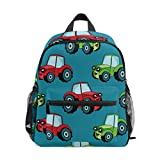 Car Auto Tractor Blue Toddler Backpack School Bag Multi Cute BookBags for School Boys and Girls Kid Bags Children Travel Daypack 2-6 Years Old Preschool