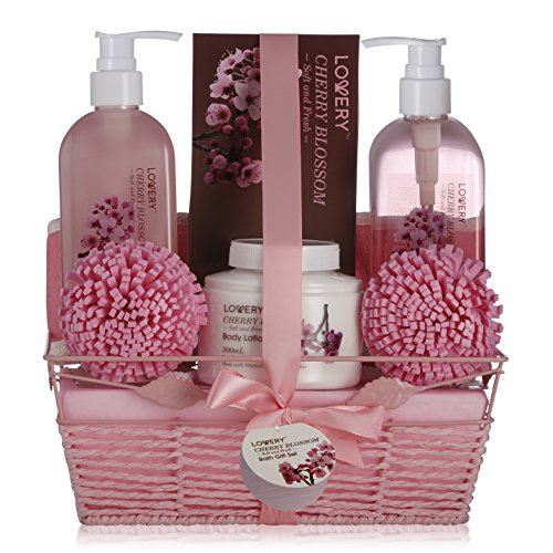 Spa Gift Basket in Cherry Blossom Scent - 8 Piece Luxury Bath Set for Women & Men, Includes Shower Gel, Bubble Bath, Bath Salt, Lotion & More! Great Wedding, Anniversary or Graduation Gift for Women
