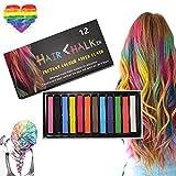 Tiza para el cabello, 12 colores Color temporal para el cabello, para niños y adultos - Lavable y...