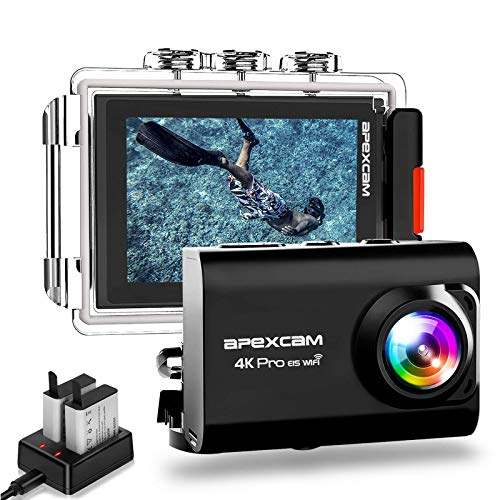 ApexcamAction Cam ProAggiornato4K 20MP Fotocamera EIS WIFI 2 Pollici Ultra HD Impermeabile 40M Sott'acqua con MicEsterno 2.4G Telecomando 170Grandangolare due 1200mAh Batterie e il Kit Accessori