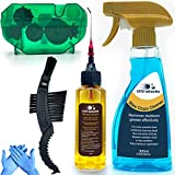 Ultrafashs Bike Chain Oil Lubricant and Cleaner Set with Bicycle Degrease,Wet Lubricant,Chain Scrubber Cleaning Brush Tool.Bike Lube-2oz,Degreaser-10oz.