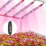 TOPLANET Lmpara de Planta, 40W Lampara Led Cultivo Tubo, T5 Full Spectrum con Luz Azul Roja, 4 PCS Luz Plantas Crecimiento con Temporizador Automtico 3/6/12H, 3 Modos Lmpara LED para indoor cultivo