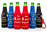 Beer Bottle sleeves- Set of 6 Multi Color Zipper Coolies with Funny Quotes - Thick Neoprene - Fully stitched, Non-Glued Base - Thermosuit Cooler + Bottle Opener - Trendy & Awesome any occas. Gift #3FQ