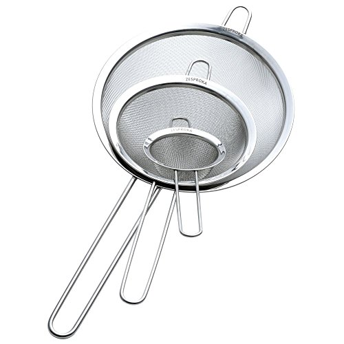 """Stainless Steel Fine Mesh Strainers for Kitchen, 3.26"""", 5.78"""", 7.75"""", Silver"""