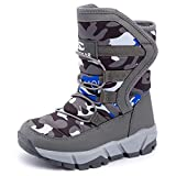UBFEN Winter Warm Snow Boots Boys Waterproof Outdoor Bootie High Top Slip Resistant Cold Weather Shoes 1.5 Little E Purple