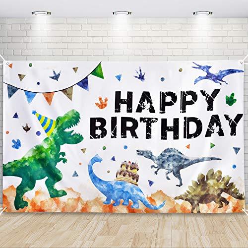 Fondo de Cumpleaños de Dinosaurios - Decoración para Fiest