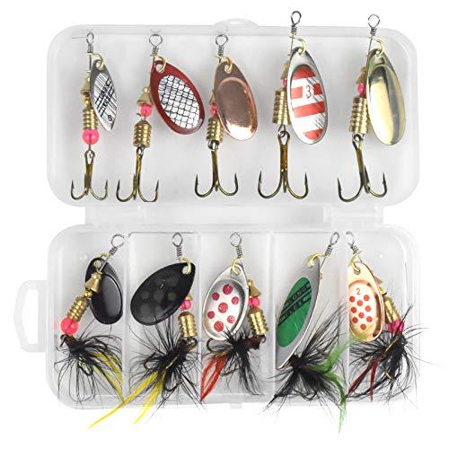 Chstarina 10 Pezzi Esche da Pesca Metallo Cucchiaini da Pesca Paillettes Esche Artificiali Spinning Filatore di Pesca Accessori Pesca per Luccio Trota Bass